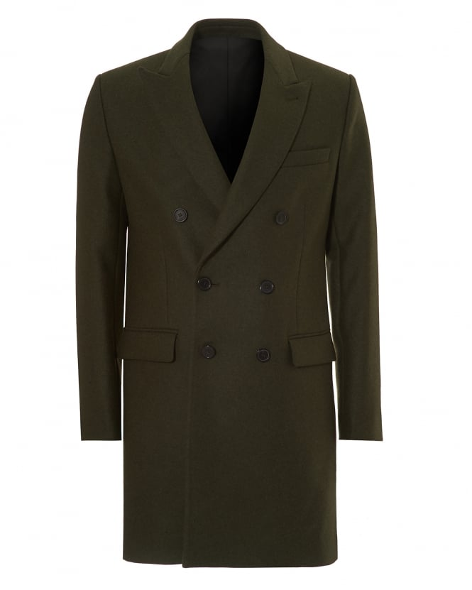 Ami Mens Double Breasted Jacket, Virgin Wool Khaki Overcoat