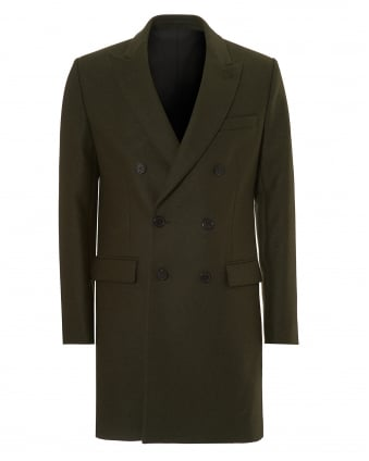 Mens Double Breasted Jacket, Virgin Wool Khaki Overcoat