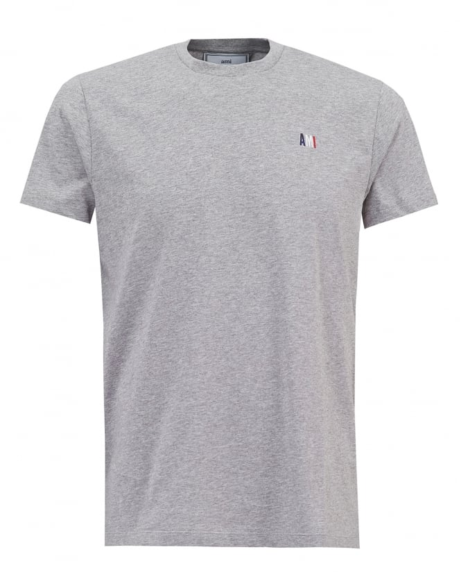 Ami Mens Embroidered Flag T-shirt, Grey Regular Fit Tee