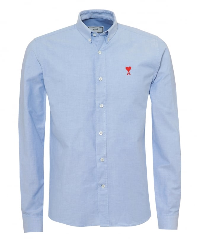 Ami Mens Embroidered Heart Logo Shirt, Button Down Sky Blue Oxford Shirt