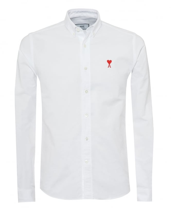 Ami Mens Embroidered Heart Logo Shirt, Button Down White Oxford Shirt