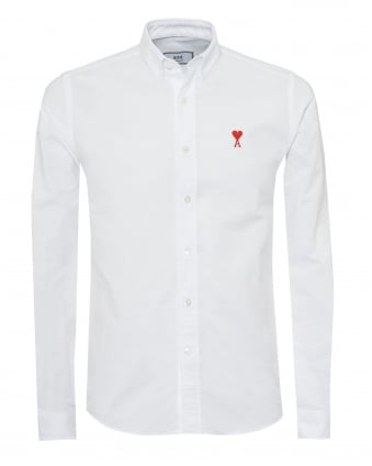 Mens Embroidered Heart Logo Shirt, Button Down White Oxford Shirt