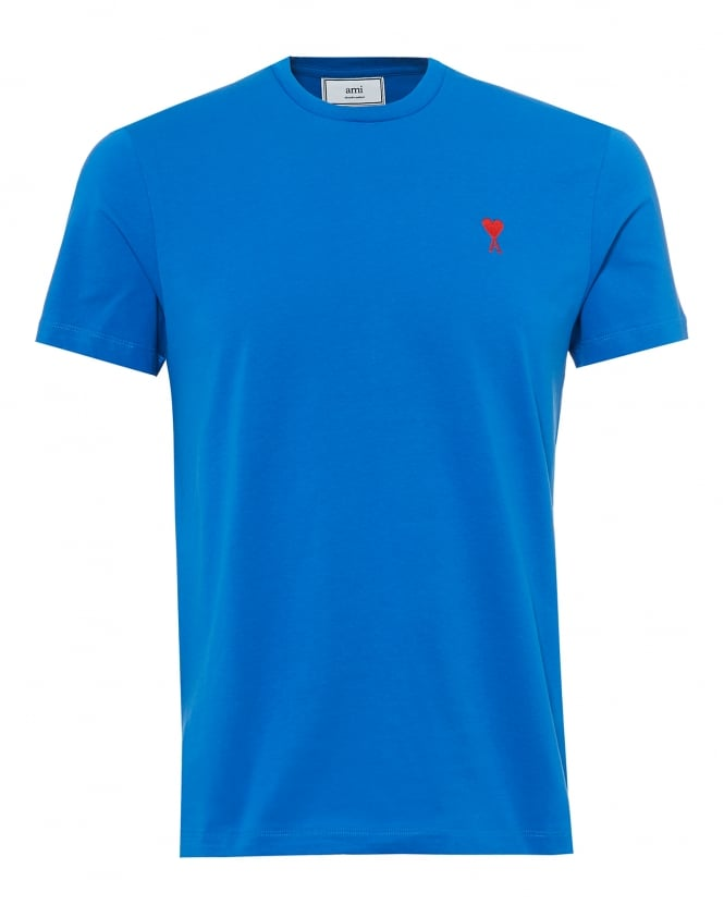 Ami Mens Embroidered Heart Logo T-Shirt, Crew Neck Blue Tee