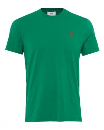 Mens Embroidered Heart Logo T-Shirt, Crew Neck Green Tee