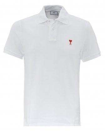 cdc7850b2bdb Mens Embroidered Heart White Polo Shirt