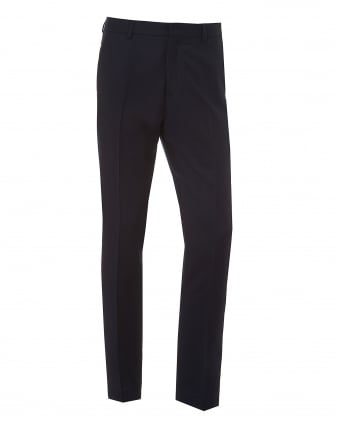 Mens Flannel Trousers, Straight Cut Navy Blue Trousers