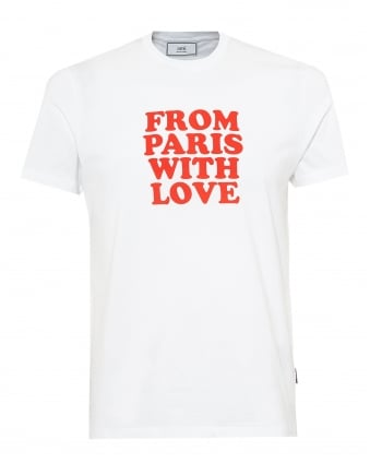 Mens From Paris With Love T-Shirt, Crew Neck White Tee