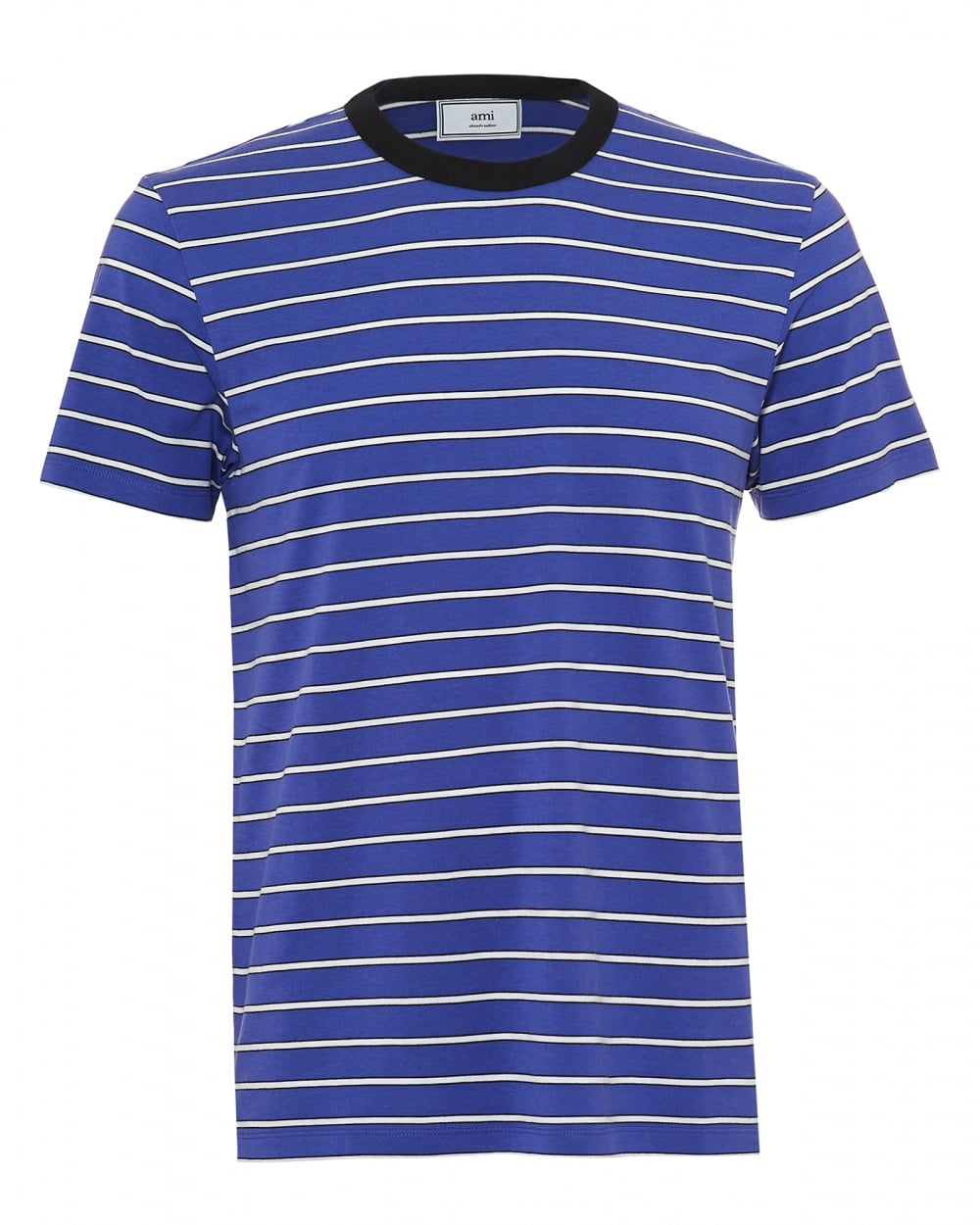 Ami mens horizontal white striped t shirt regular fit for Purple and black striped t shirt