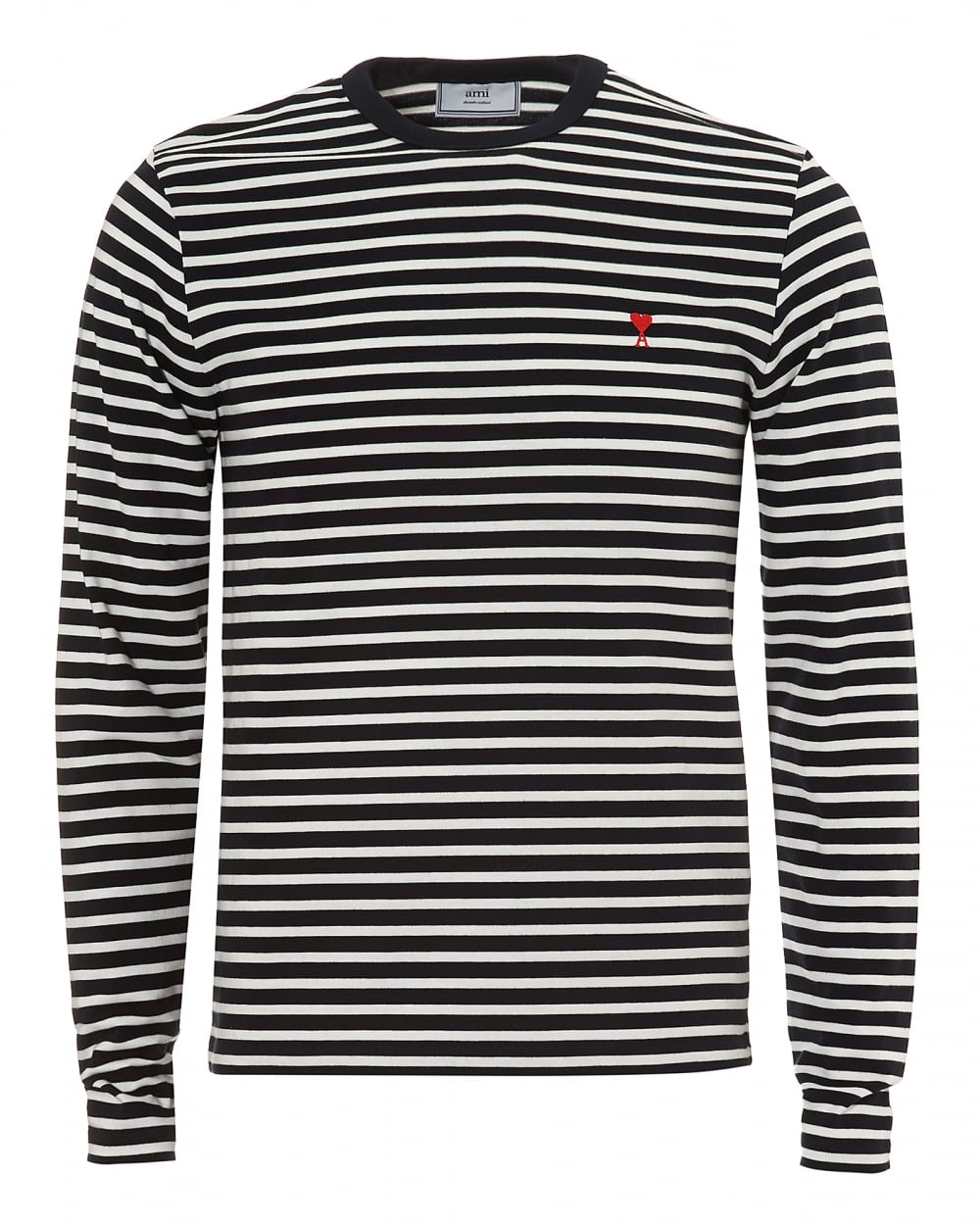 Ami mens navy white striped pattern long sleeve t shirt for Long sleeve shirt pattern
