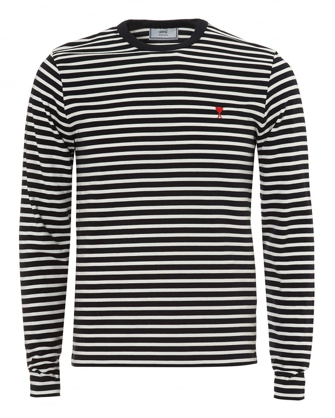 Ami Mens Navy White Striped Pattern Long Sleeve T-Shirt