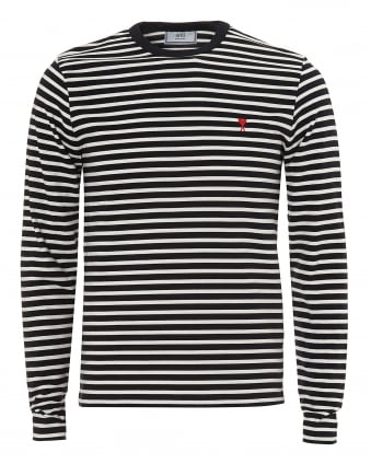 Mens Navy White Striped Pattern Long Sleeve T-Shirt