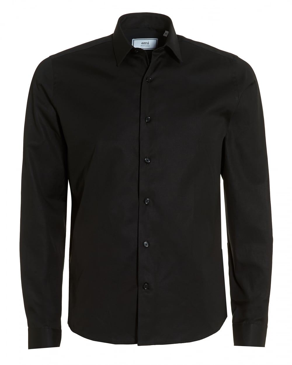 Ami mens black cotton shirt regular fit formal shirt for Black tuxedo shirt for men