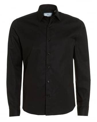 Mens Plain Black Shirt, Regular Fit Poplin Formal Shirt