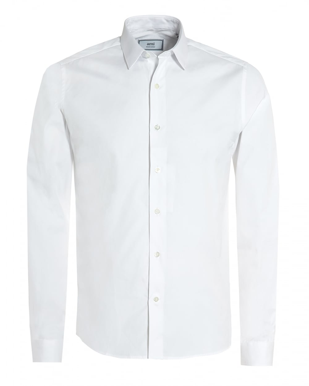 Ami mens plain white cotton shirt regular fit formal shirt for Mens formal white shirts
