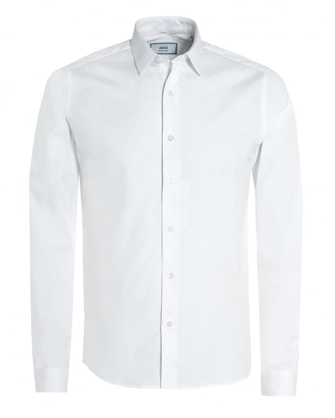 Ami Mens Plain White Shirt, Regular Fit Poplin Formal Shirt