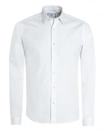 Mens Plain White Shirt, Regular Fit Poplin Formal Shirt
