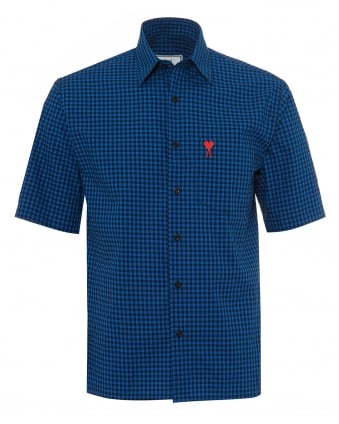 Mens Short Sleeved Shirt, Blue Black Checked Shirt