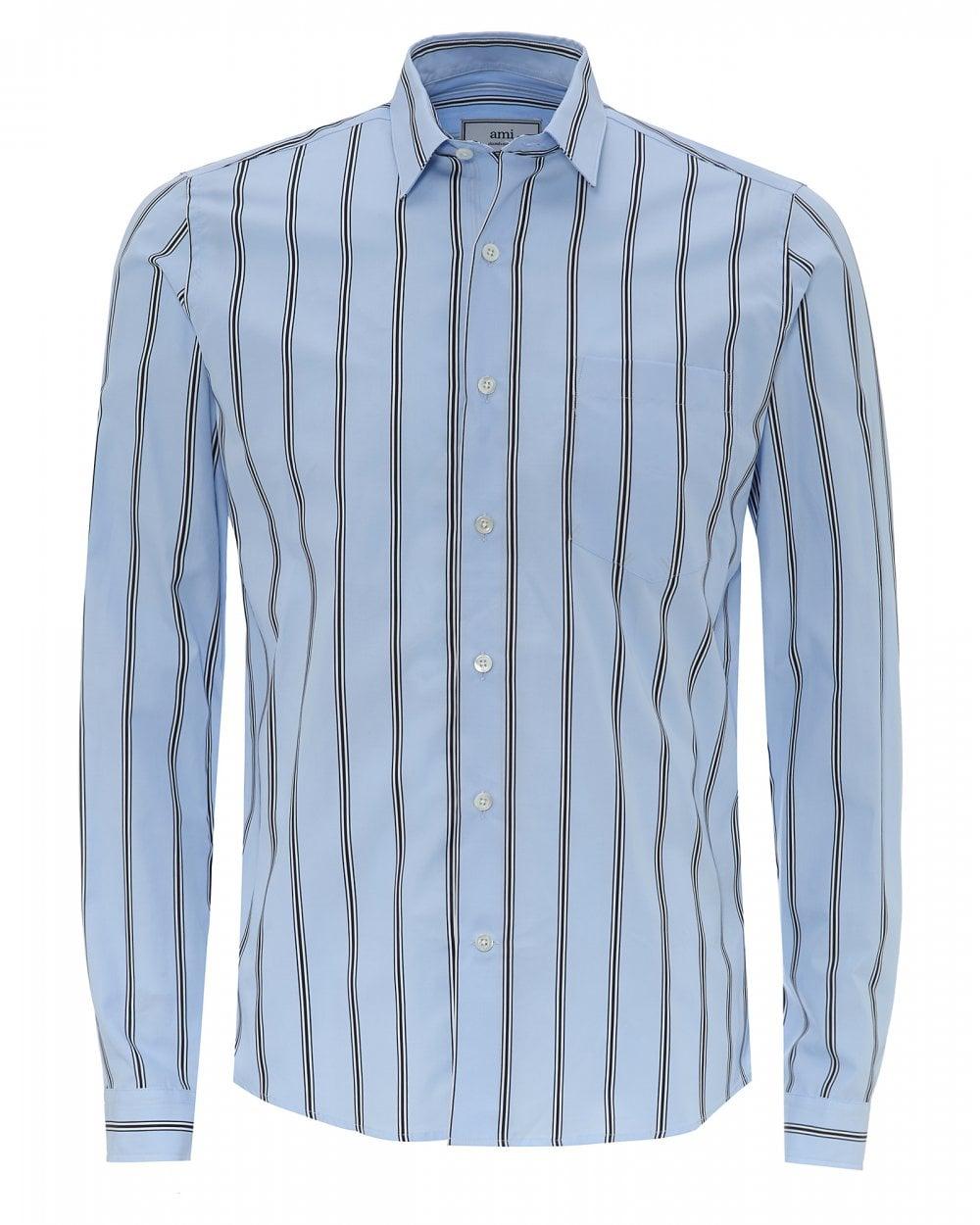 7c121b54a0 Ami Mens Sky Blue Striped Cotton Poplin Shirt