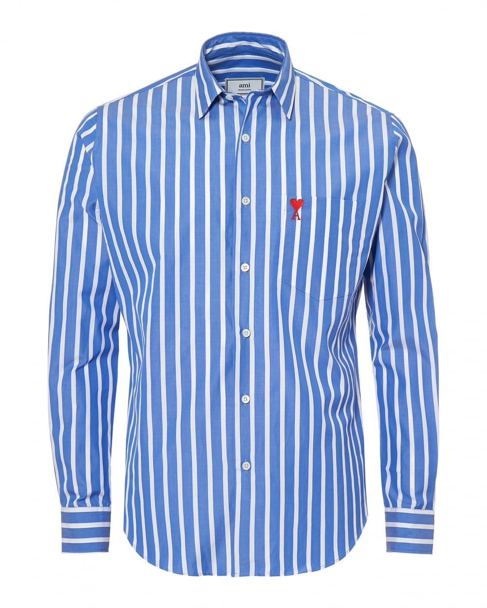 Wedding White Or Blue Shirt: Ami Mens Summer Fit Broad Stripe Blue White Shirt