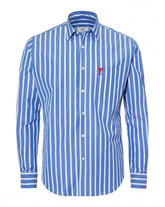 Mens Summer Fit Broad Stripe Blue White Shirt