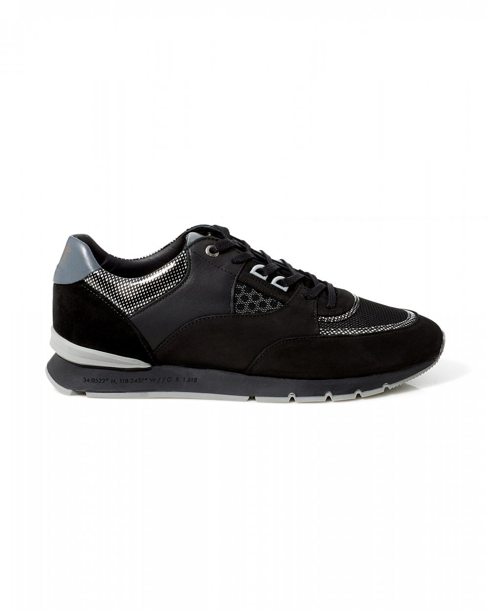 Mens Belter 2.0 Trainers, Black Silver Gloss Carbon Sneakers