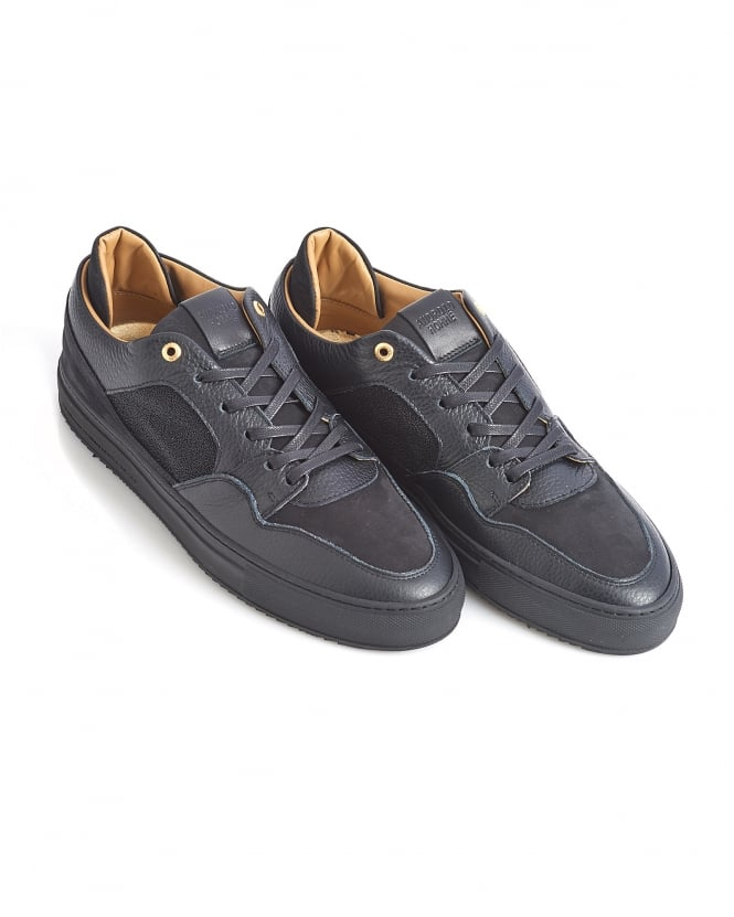 Android Homme Mens Omega Low Trainer, All Black Leather Sneaker