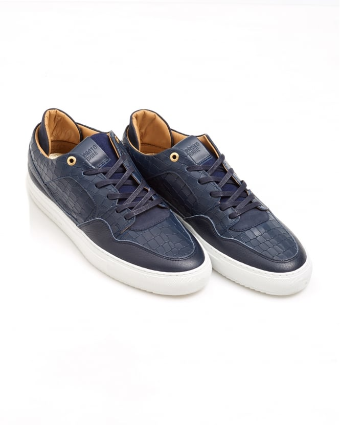 Android Homme Mens Omega Low Trainer, Moc Croc Navy Blue Sneaker