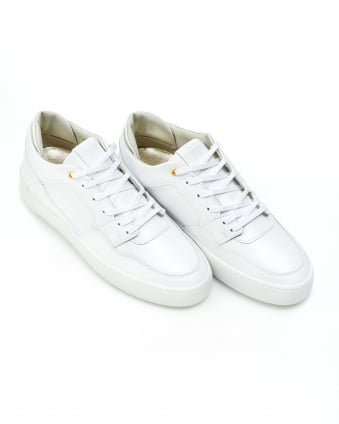 Mens Omega Low Trainers, Grained Leather White Sneakers