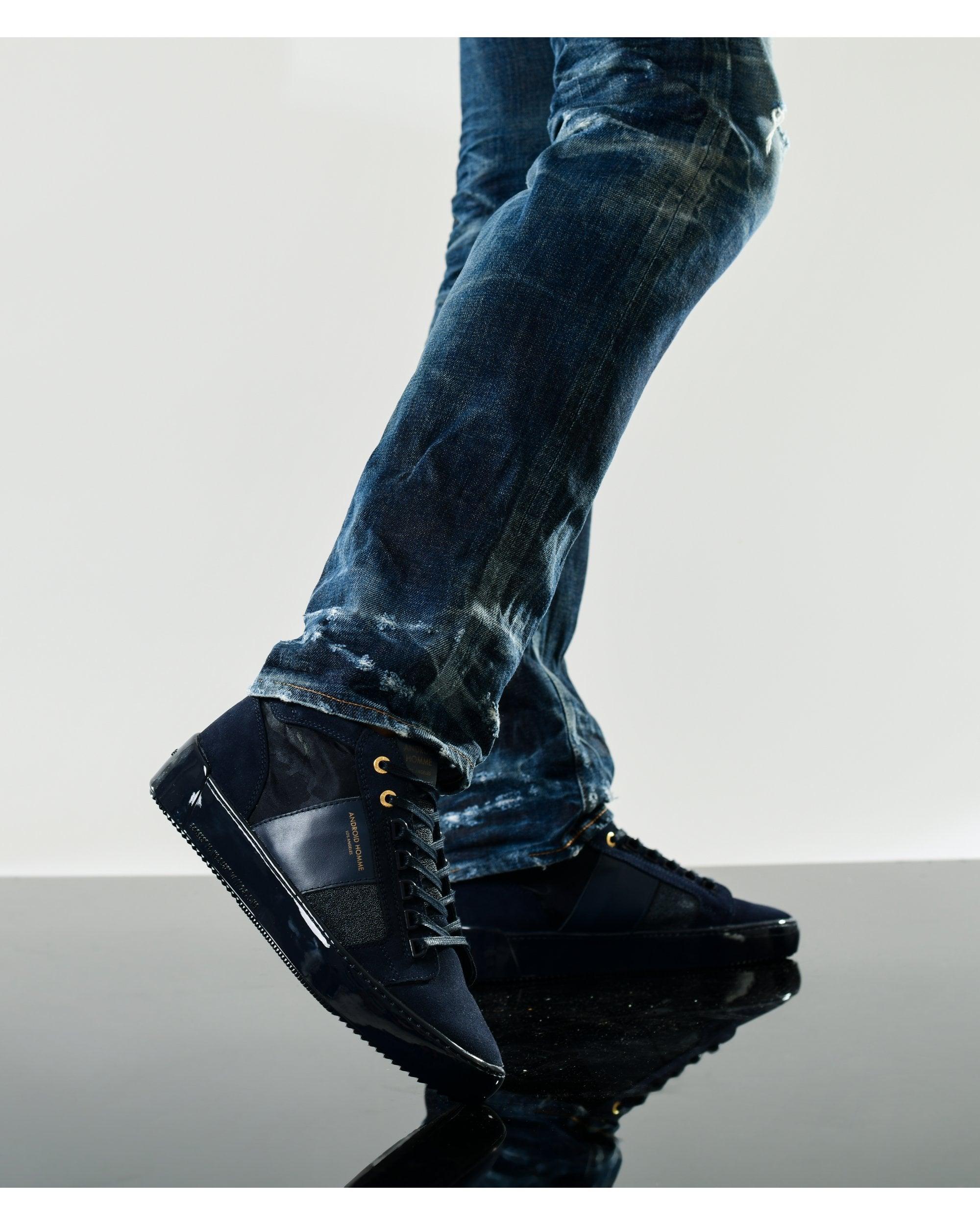 Mens Propulsion Mid Geo Caviar Camo Trainers Dark Azure Sneakers