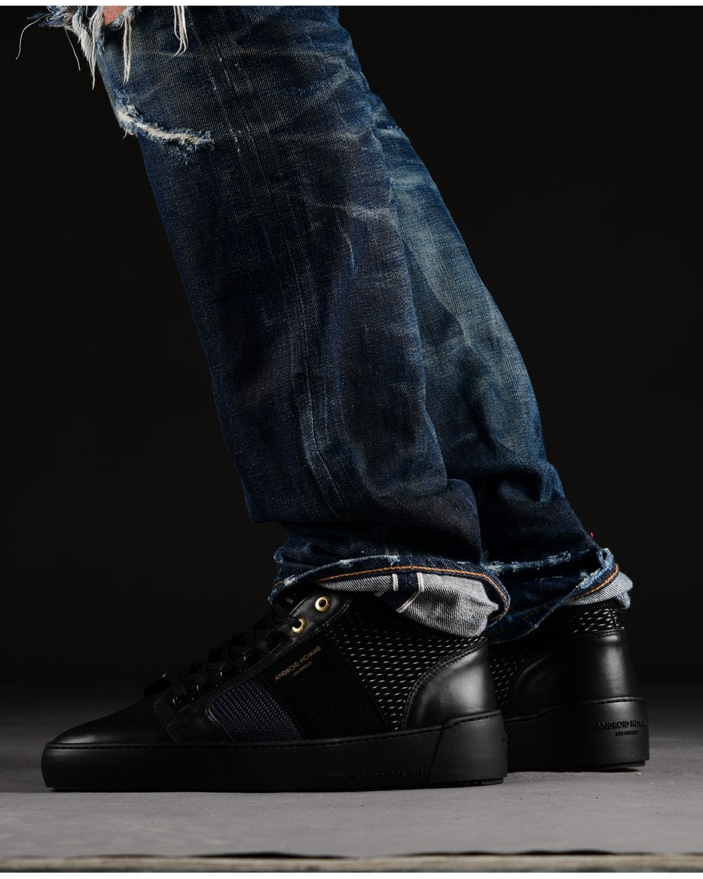 Android Homme Mens Propulsion Mid Geo Gloss Trainers Black Sneakers