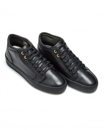 Mens Propulsion Mid Trainers, Grained Leather Black Sneakers