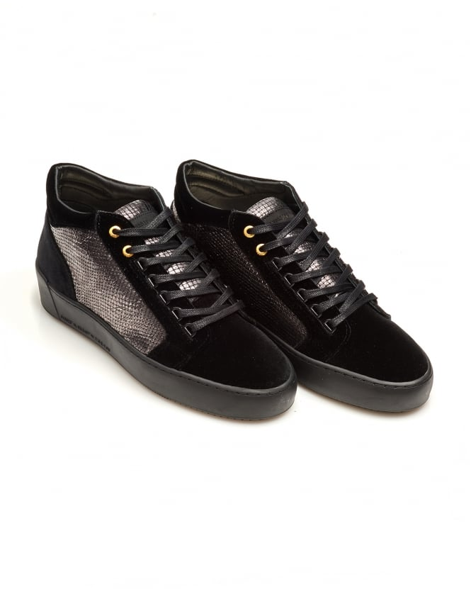 Android Homme Mens Propulsion Mid Trainers, Snake Print Black Sneakers