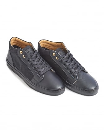 Mens Propulsion Trainer, Glossy Black Leather Sneaker