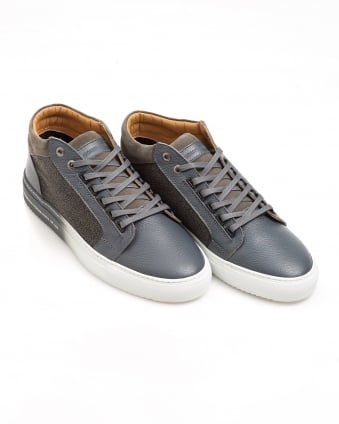 Mens Propulsion Trainer, Matte Grey Leather Sneaker