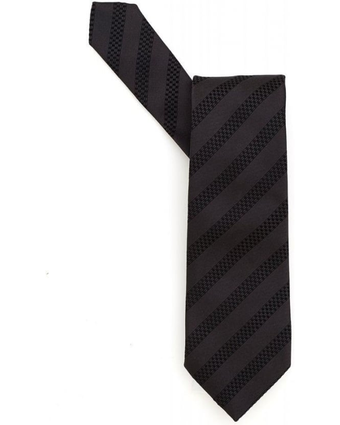 Hugo Boss Black Anthracite Grey Textured Stripe Silk Tie