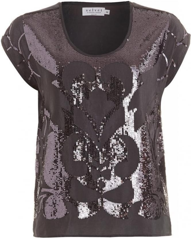 Velvet by Graham & Spencer Antonina Gunmetal Grey Sequin T-Shirt