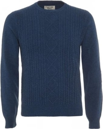 Aran Denim Blue Cable Knit Jumper