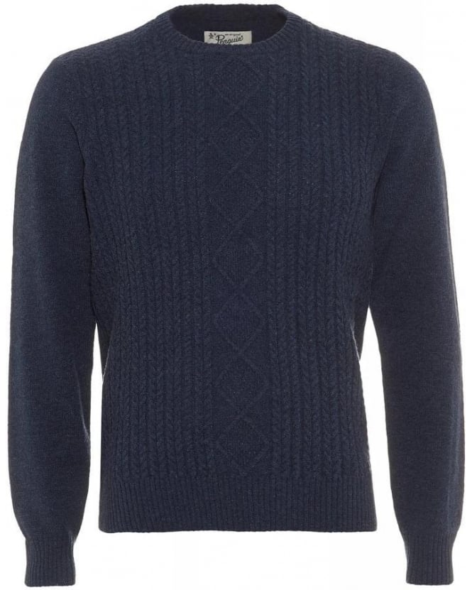 Original Penguin Aran Navy Blue Cable Knit Jumper