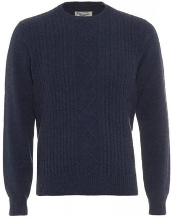 Aran Navy Blue Cable Knit Jumper