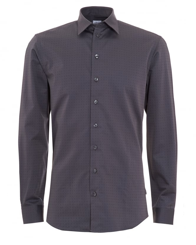 Armani Collezioni Mens All Over Dotted Grey Shirt