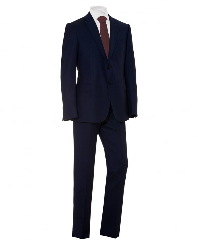 Emporio Armani Mens All Over Tonic Fleck M-Line Cut Wool Blue Suit