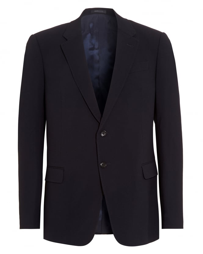 Armani Collezioni Mens Blazer, Navy Blue Diagonal Weave Jacket