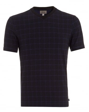 Mens Check Snake T-Shirt, V Neck Navy Black Tee