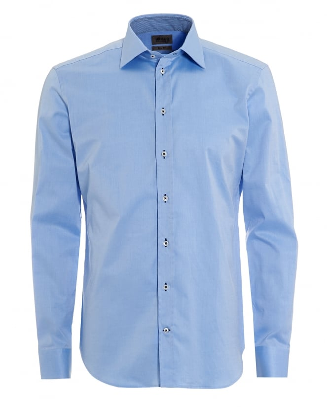 Armani Collezioni Mens Contrast Stretch Cotton Plain Sky Blue Shirt