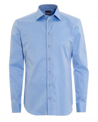 Mens Contrast Stretch Cotton Plain Sky Blue Shirt