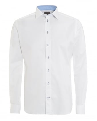 Mens Contrast Stretch Cotton Plain White Shirt