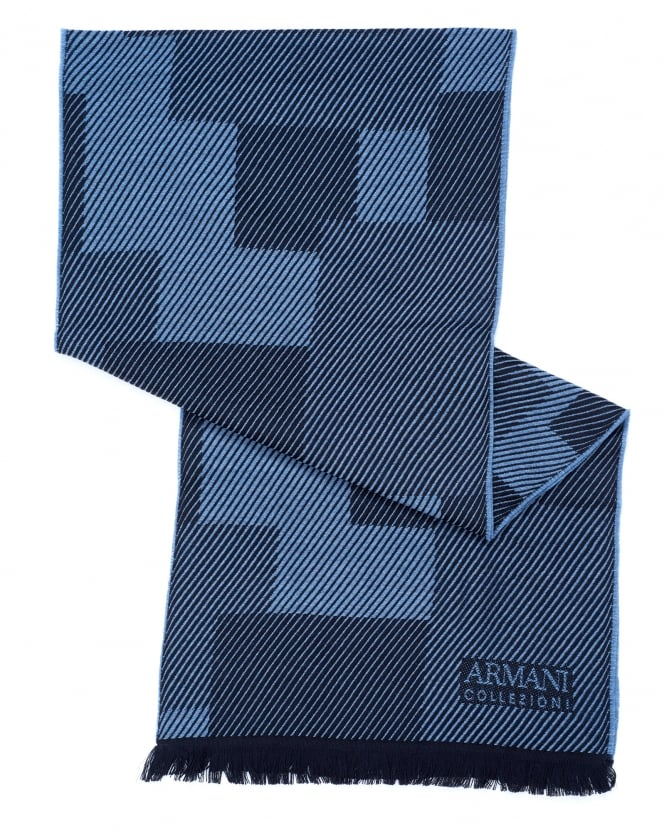 Armani Collezioni Mens Diagonal Panel Wool Blue Scarf