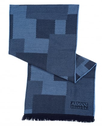 Mens Diagonal Panel Wool Blue Scarf