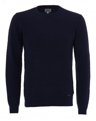 Mens Dotted Panel Knit Jumper, Crew Neck Navy Sweater
