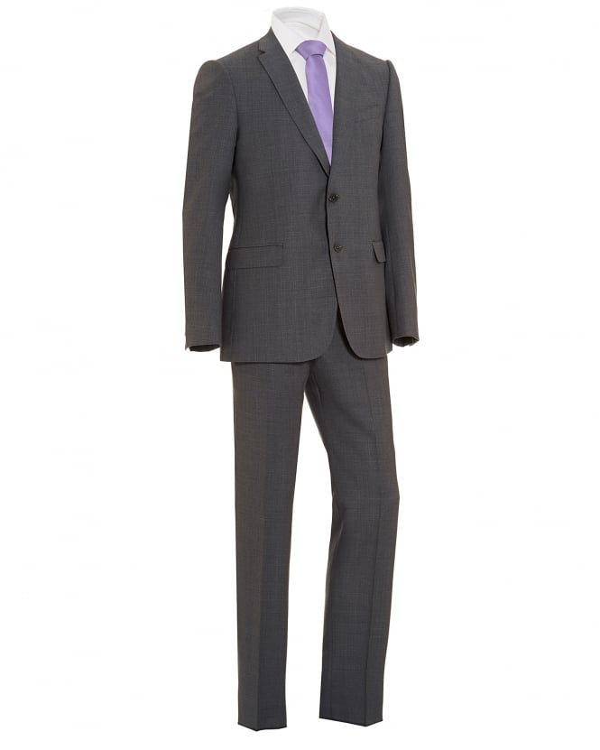 Emporio Armani Mens End Texture 2 Button Wool Grey Suit